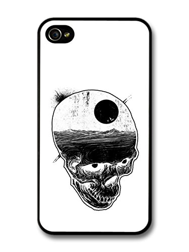 Skull with Night Sky and Bats over Ocean Illustration in Black and White case for iPhone 4 4S