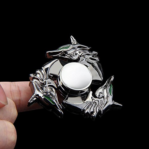 Alloy Wolf Unique Fidget Spinner Triangle Single Finger Decompression Gyro toy Stress Reducer, Perfect For ADD, ADHD, Anxiety, and Autism Adult Children by XILALU (A) (Wolf)