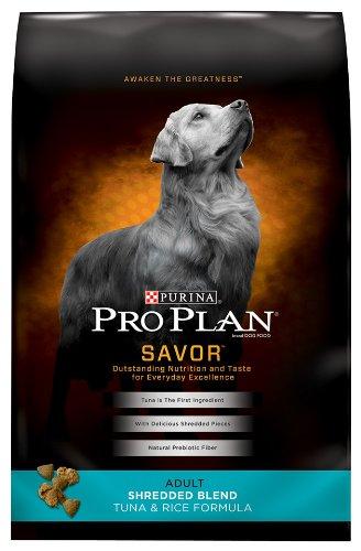 Purina Pro Plan Savory Adult Shredded Blend Tuna and Rice Dry Dog Formula, 33-Pound, My Pet Supplies