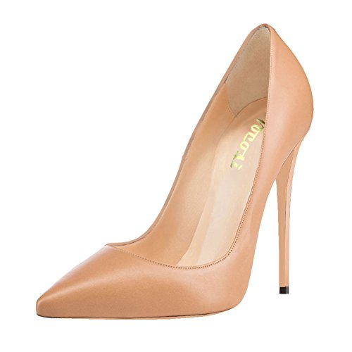 Dress Patent Ladies High Apricot 7 Pointed Party toe Women's Suede 4 Faux inches for Heels Zsie Shoes Matte VOCOSI Pumps qYw7R1W