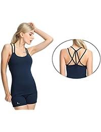Women's Workout Yoga Cami Tank Top Cross Spaghetti Strap Activewear Built-in Shelf Bra