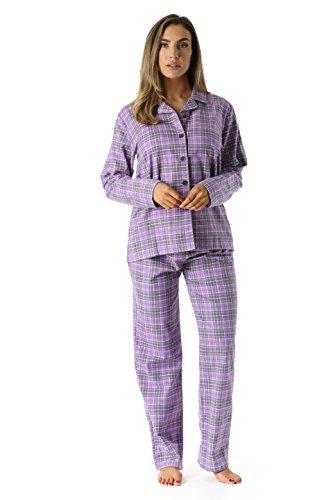 (#followme 6371-10231-S Printed Flannel Button Front PJ Pant Set)