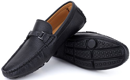 Mio Marino Mens Loafers - Italian Dress Casual Loafers for Men - Slip-on Driving Shoes - in Gift Shoe Bag - Urbane Pebble Leather Loafer - Black - Size US-12D(M) | UK-11.5 | EU-45