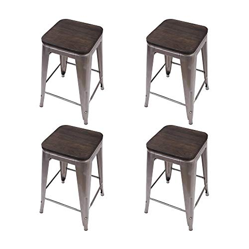 GIA 4GM VC Toolix 24-Inch Counter-Height Backless Stool, 4-Pack, Gunmetal Dark Wood