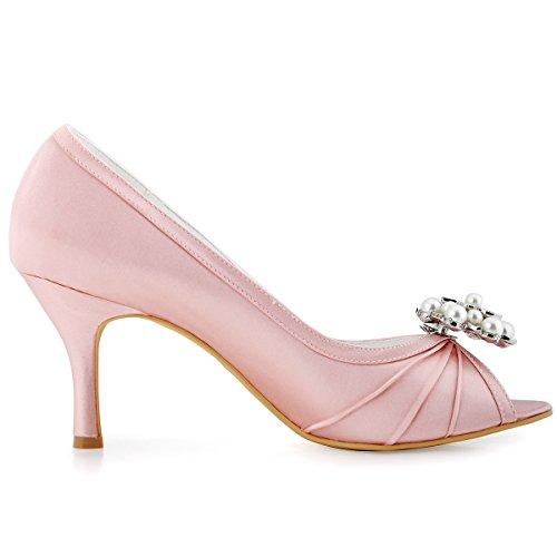 ElegantPark EP2094AE Mujer Peep Toe AE Desmontable Zapatos Clips Zapatillas El tacón alto Satén Baile Zapatos de Boda Rosa