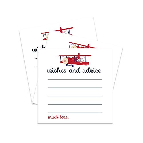 Airplane Advice and Wishes Cards (Pack of 25) for Boys Baby Shower, Birthday Time Capsule - Landing Soon Party Theme Keepsake Activity Guests Personalize