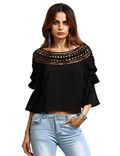 SheIn Women's Crochet Lace Hollow Out Chiffon Ruffle Top Blouse Small Black