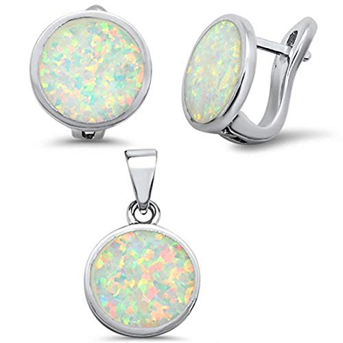 (Jewelry Set Button Half Ball Moon Earring Pendant Lab Blue Opal 925 Sterling Silver)