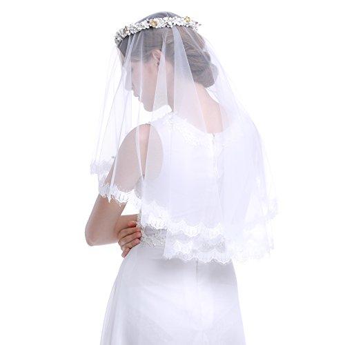 Pearl Rhinestone Beaded Floral Bridal Wreath Veil (Bridal Floral Veil)