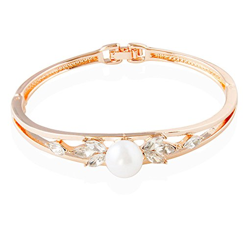 Orris Rose (Orris Studios Rose Gold Clip on Bracelet with Diamond CZ Rhinestones Pearl)