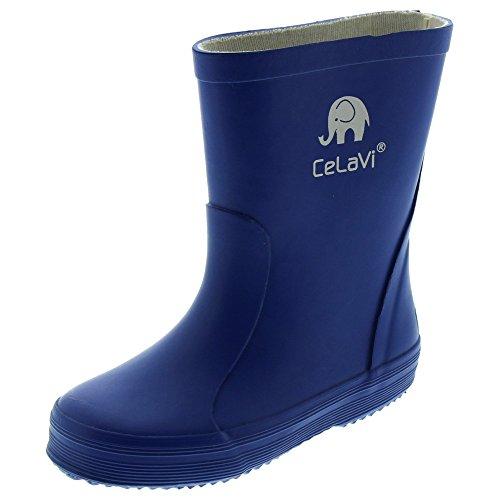 CELAVI 114770621 Kinder Unisex Wasserdichte Gummistiefel, 100% Naturkautschuk Regenstiefel, Größe: 21, blau