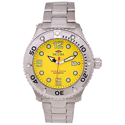 (Sicura Mens Dive Watch Automatic 300 Mts/984 FT Test it Silver/Yellow Stainless Steel Diver)