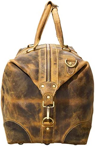 """Viosi Genuine Leather Travel Duffel Bag   Oversized Weekend Luggage   Buffalo Leather Duffle Bag For Men / Women   Sports Gym Overnight Carry-On Bag   Great Gift Idea (21"""" Antique Hunter)"""