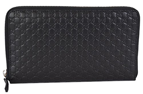 Gucci XL Micro GG Guccissima Black Leather Zip Around Travel Wallet Black Guccissima Leather