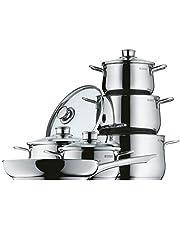 WMF Diadem Plus - Batería de Cocina (6 Piezas) Cristal, Acero Inoxidable Cromargan, Apta para Todo Tipo de Cocinas Incluso inducción