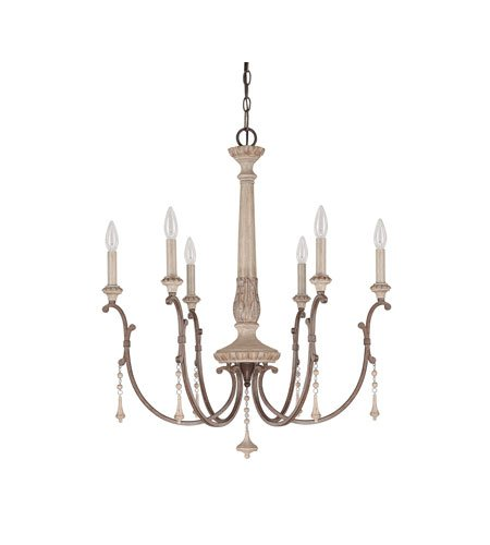 Capital Lighting 4096FO Chateau 6-Light Chandelier, French Oak Finish with Accent Fobs ()