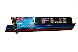 Fiji LONG Country Flag Metallic Bumper Sticker Decal .. Size : 30 x 7.5 Cm .. New