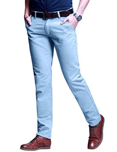 Match Men's Slim Fit Tapered Stretchy Casual Pants (30W x 31L, 8103 Light Blue)