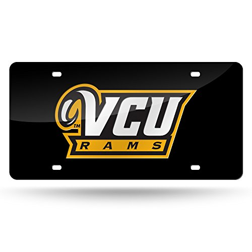 NCAA VCU Rams Laser Inlaid Metal License Plate Tag, Black, 6'' x 12'' by Rico