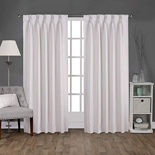 Magic Drapes Home décor 100% Polyester Double Pinch Pleat Semi Blackout Window Curtain Panels & Drapes and Thermal Insulation for Bedroom Living Room (2 Panels,42x84, White) (India Curtain Panels)