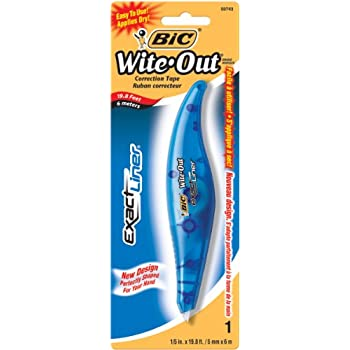 BIC White-Out Exact Liner Correction Tape Pen, Non-Refillable, 1/5 Inch x 236 Inches (WOELP11)