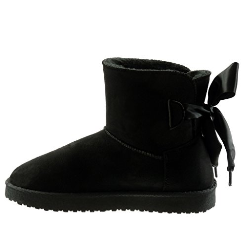 flat boots Satin Ankle lace CM Boots 5 Black 2 Fashion Shoes Women's heel Booty Snow Angkorly t8IvFqxw