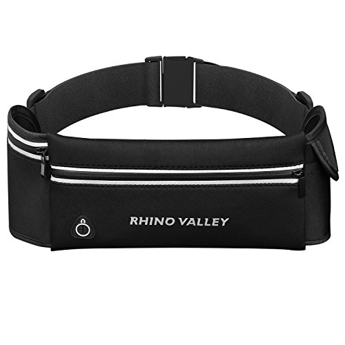 Rhino Valley Sports Running Belt, 3 Pockets Water Resistant Waist Pack, Fitness Workout Fanny Pack Phone Pouch Holder Compatible with iPhone X/Xr/Xs Max/8/7/6S Plus, Galaxy S10/S10e/S9/S8 Plus