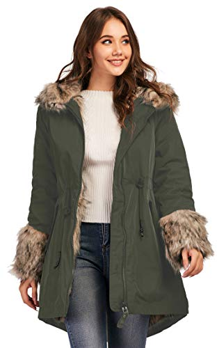 TIENFOOK Womens Parka Jacket Winter Coat with Drawstring Waist Thicken Fur Hood Lined Warm Reversible Design Outwear Jacket (Army Green, Large)