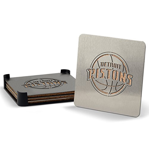 NBA Detroit Pistons Boasters, Heavy Duty Stainless Steel Coasters, Set of 4 by Sportula