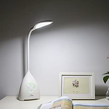 Desk Lamp with Bladeless Cooling Fan, Joly Joy Touch-Sensitive LED Reading Lighting Rechargeable, 360 Adjust Angle, 3 Color Modes, Timer, AC Adapter Included