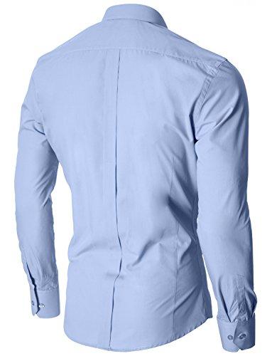 MODERNO - Slim Fit Camisa Formales para Hombre (MOD1447LS) Azul cielo