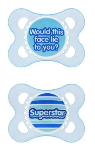 MAM Sayings Original Silicone Pacifier, 2 Months, 2 Pack (Colors and sayings may vary)