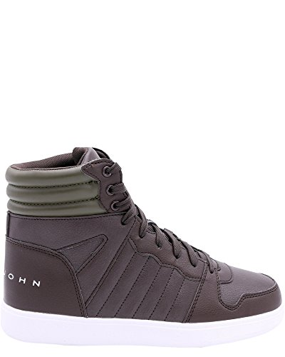 Sean John Mens Murano Supreme Hi Top Sneaker Marrone Scuro / Oliva