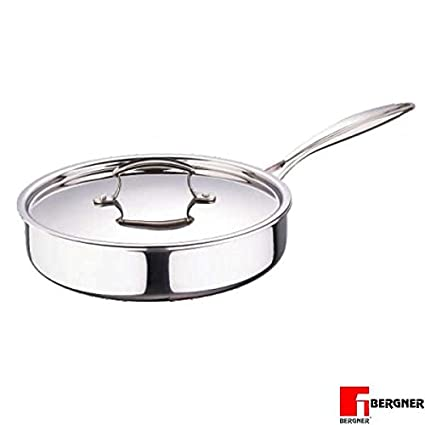 Bergner Stainless Steel Frypan with Lid, 26cm Frying Pans at amazon