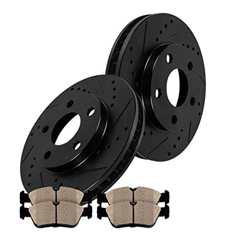 CM1P40147B FRONT BLACK Drilled/Slotted 303 mm [2] Rotors + [4] Metallic Brake Pads Kit (Eldorado Etc Front Brake Pads)