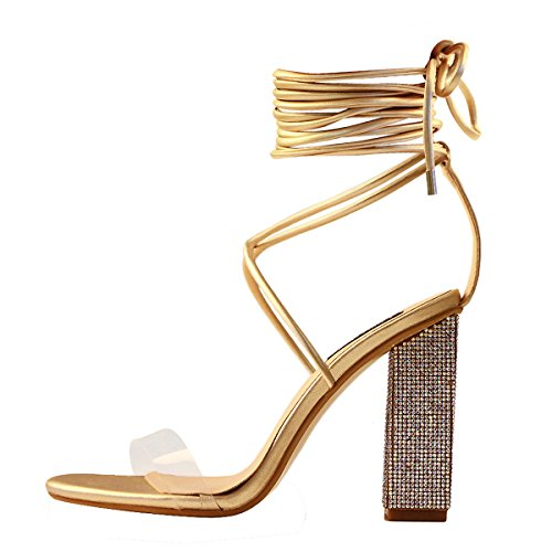 Onlymaker Women's Gladiator Ankle Strap Clear Rhinestone Lace up Chunky High Heel Strappy Sandals Gold 10 M US