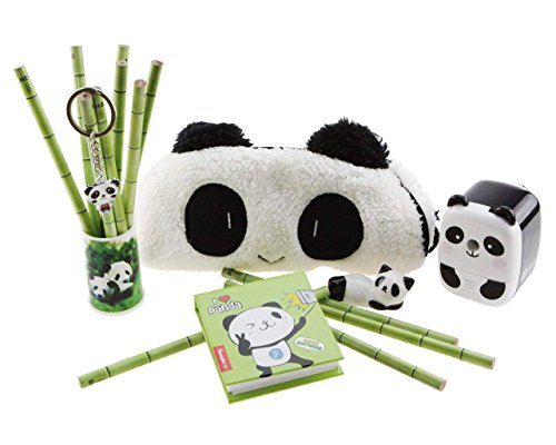 Adorable Panda Theme Stationery Set 6 Pieces Include 1 Pencil Holder with 12 Pencil 1 Key Chain 1 Pen Case 1 Sharpener 1 Memo Pad 1 Ceramic Panda Toy for - Pencil Panda