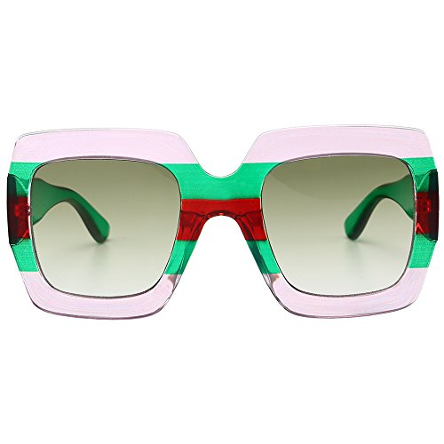 Gobiger Trendy Luxury Square Oversized Sunglasses for Women Brand Designer Shades (Pink-green Frame, Gradient - Sunglasses Brand Shades