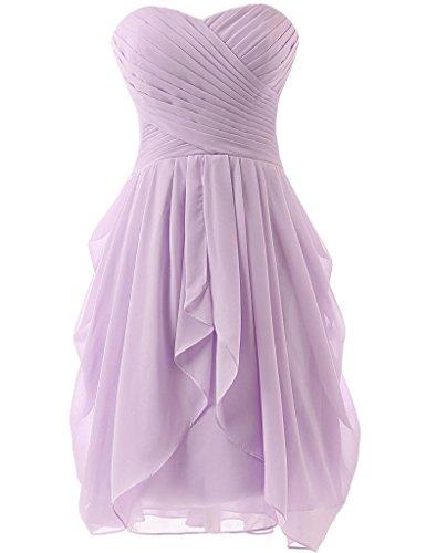 Bridesmaid Short s Prom Dresses Dreagel for Lavender Women Dress Party Pleat qTXCw6xt