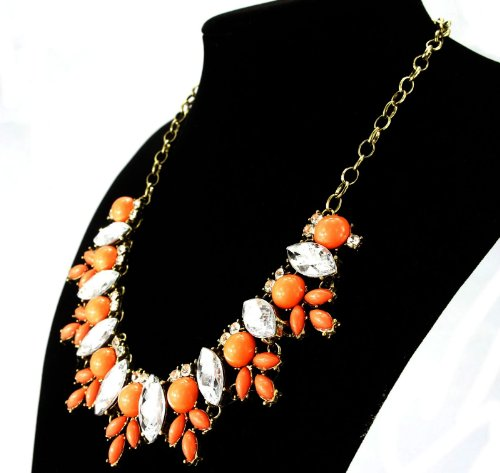 Fit&Wit FitWit Rhinestone Crystal Statement Necklace Women Bohemian Fashion Necklace - ORANGE by Fit&Wit (Image #1)