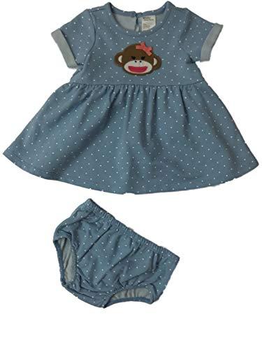Baby Starters Infant Toddler Girls Sock Monkey Blue Polka Dot Diaper Cover & Dress 2-PC ()
