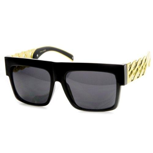 High Fashion Metal Chain Arm Flat Top Aviator Sunglasses (Shiny Black ()
