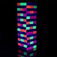 Black Light Tumble Tower -Glowing Blocks Tumble Tower Suitable for Day Or Night,Games for Adults Party or Drin