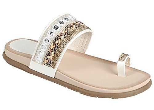 White Athena Faux Leather Gladiator Beaded Open Heel Flip Flop Sandal Boho Walking Roman Hippy Wide Band Small Wedge Heel Indoor Modern Thong Slip On for Sale Women Ladies (Size 8, White)