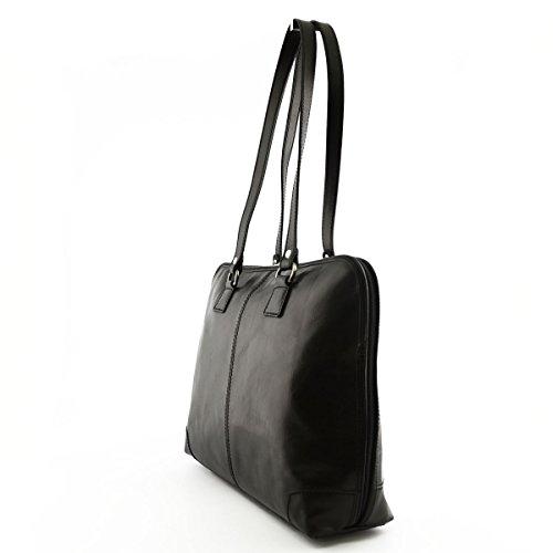 Echtes Leder Aktentasche Für Damen 1 Fach Farbe Schwarz - Italienische Lederwaren - Aktentasche