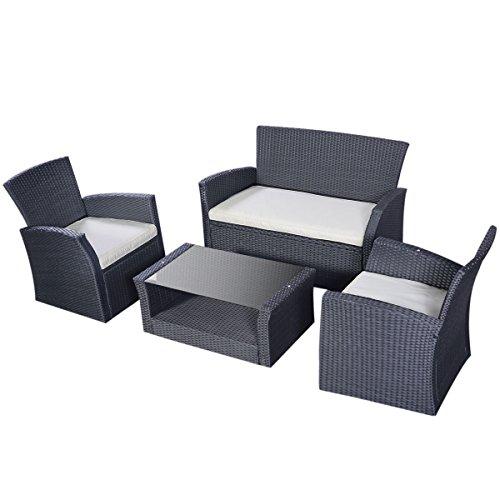 Funiture Outdoor Patio Sofa Rattan Set 4 Pcs Garden Lawn Wicker (Paul Frankl Rattan)