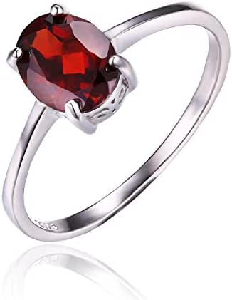 JewelryPalace Women's 1.7ct Natural Red Garnet Birthstone Ring 925 Sterling Silver