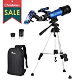 TELMU Telescope for Kids and Adults 70mm Portable Travel Telescope Astronomy Refractor Telescopes with Universal Wheel Tripod Observing Moon and Scenery (Rucksack&Mobile Stands Included)