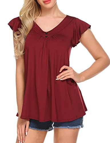 SoTeer Women's V Neck Pleated Tunic Tops Cap Sleeve Flowy Loose Summer T Shirts Blouses - V-neck Cap Sleeve T-shirt