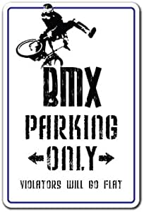 New Bmx Decal Parking Race Bike Trick Rider Parts Racer Fun Metal Sign 8x12 inches